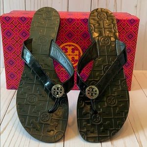 Tory Burch Flat Thora Patent Leather Sandals